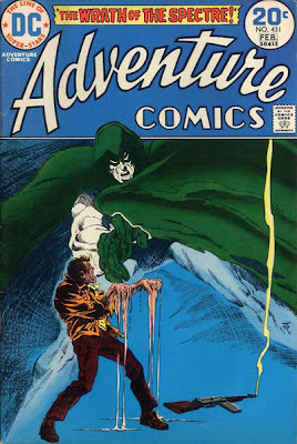 Adventure Comics #431, the Spectre melts a criminal, cover by Jim Aparo