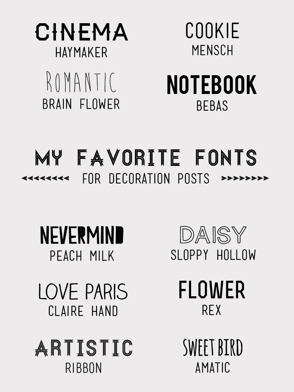 Free fonts for decoration blog by daramuscat.com