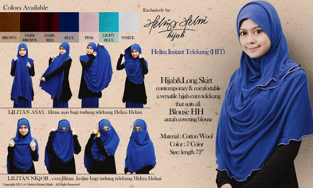 Cara pemakaian shawl labuh dari Heliza Helmi hijab