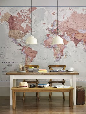 pink map as dining room wall mural
