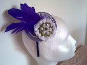 Tocado en tonos lilas, muy vintage, ideal para coktel, dama de honos, fiestas y eventos.