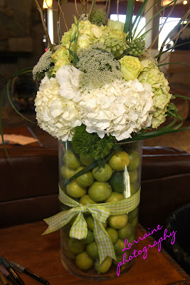 Lime and hydrangea wedding flowers