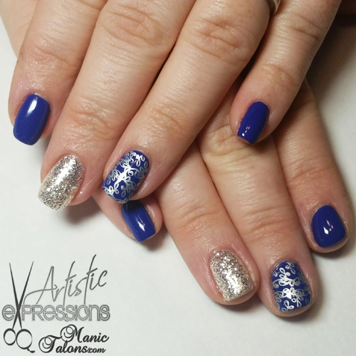Blue and Silver Stamped Manicure