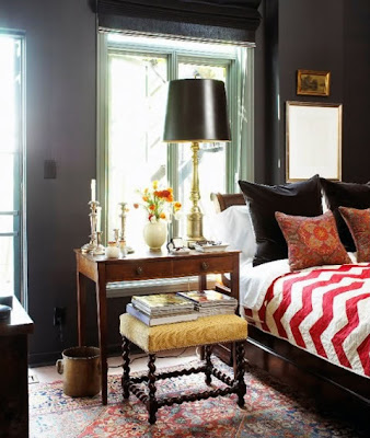 refined bedroom, masculine bedroom, tailored bedding, warm interiors, art in the bedroom