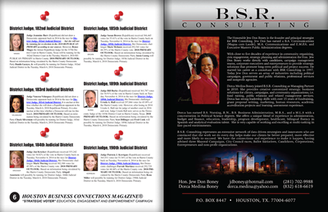 "PAGES 6 AND 7 - HOUSTON BUSINESS CONNECTIONS MAGAZINE© ""STRATEGIC VOTER"" MOBILIZATION CAMPAIGN"