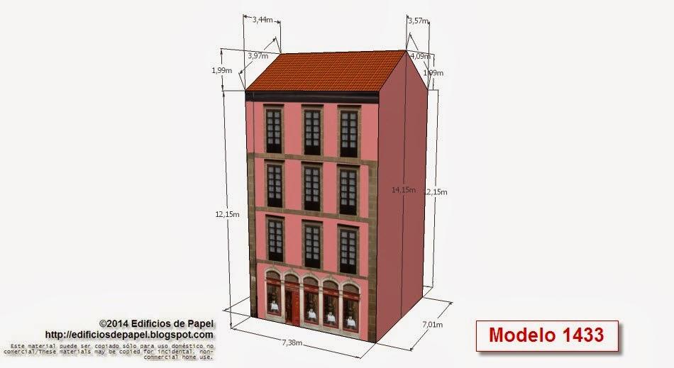 2014 Edificios de Papel - Modelo 1433 - Edificio con restaurante.