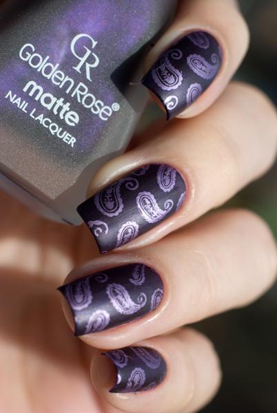 Stamping art: Lesly LS-107 + Golden Rose matte 09