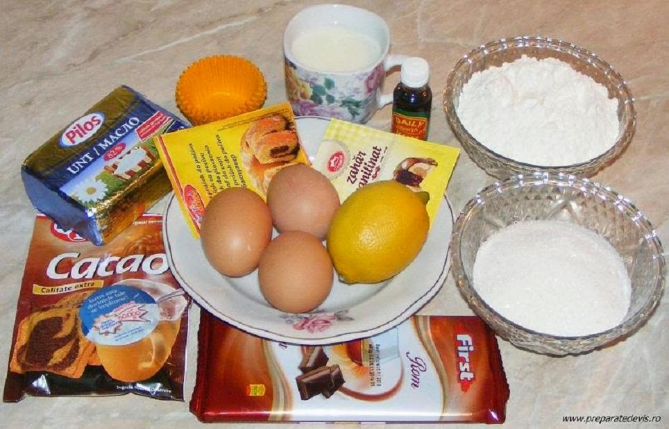 ingrediente madlene cu cacao, ingrediente briose cu cacao, ingrediente dulciuri si prajituri de casa, retete culinare,