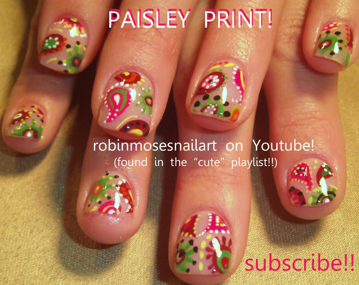 Nail Art Design: paisley nail, retro nail design, green and pink ...