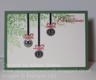 Stampin Up Ribbon Slides used as Baubles hanging from branch made with Lovely as a Tree