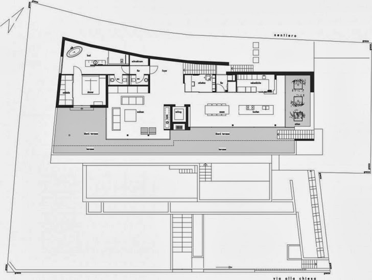 Ground floor plan of Beautiful House Lombardo by Philipp Architekten