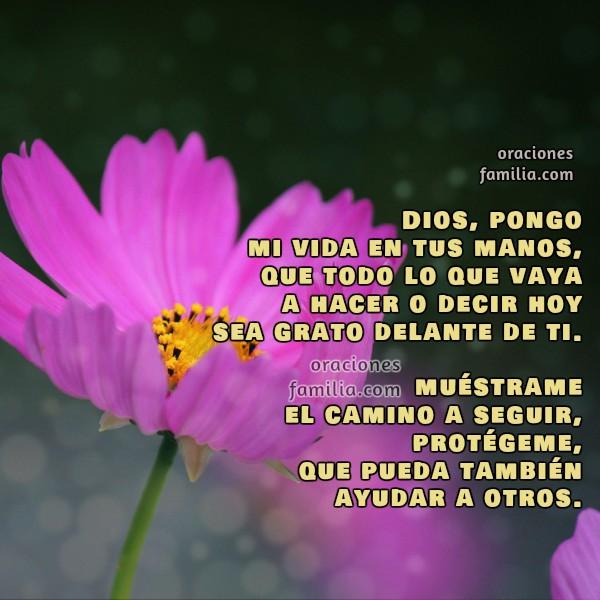 Oración de la mañana, inicio, comienzo de nuevo día, buenos días Señor, imagen cristiana con oración corta. Oraciones de familia por Mery Bracho