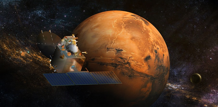 Artist's rendering of India's Mars Orbiter Mission approaching Mars