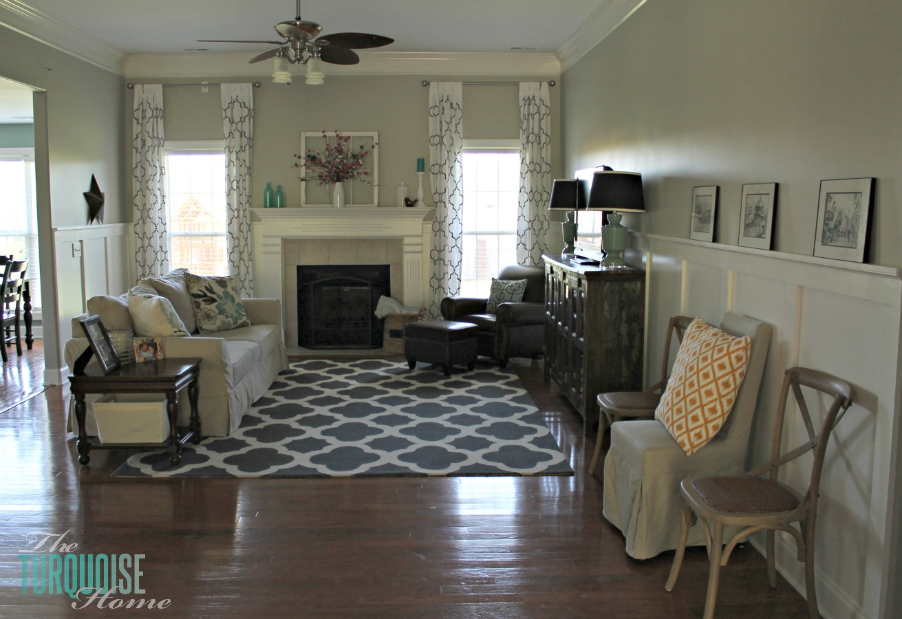 Gentil Gorgeous Living Room Makeover With Beautiful DIY Board And Batten, Pottery  Barn Sofa, Stenciled