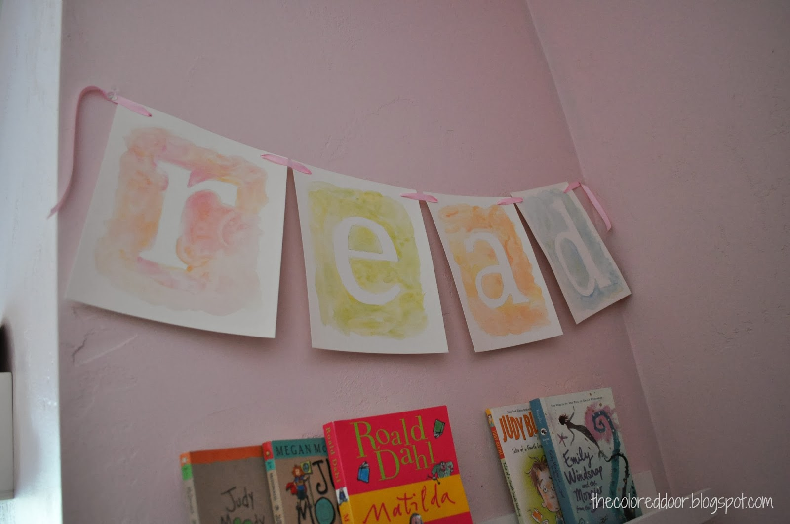 Book ledges and water color letters- the colored door