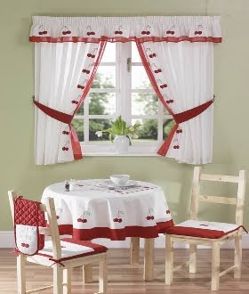 Small curtains models for kitchens in different colors - new 2014