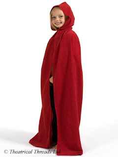 Red Hooded Halloween Cloak for kids from Theatrical Threads Ltd