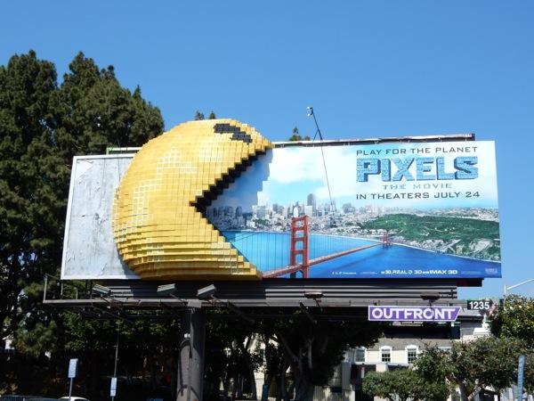 Pixels special 3D PacMan movie billboard