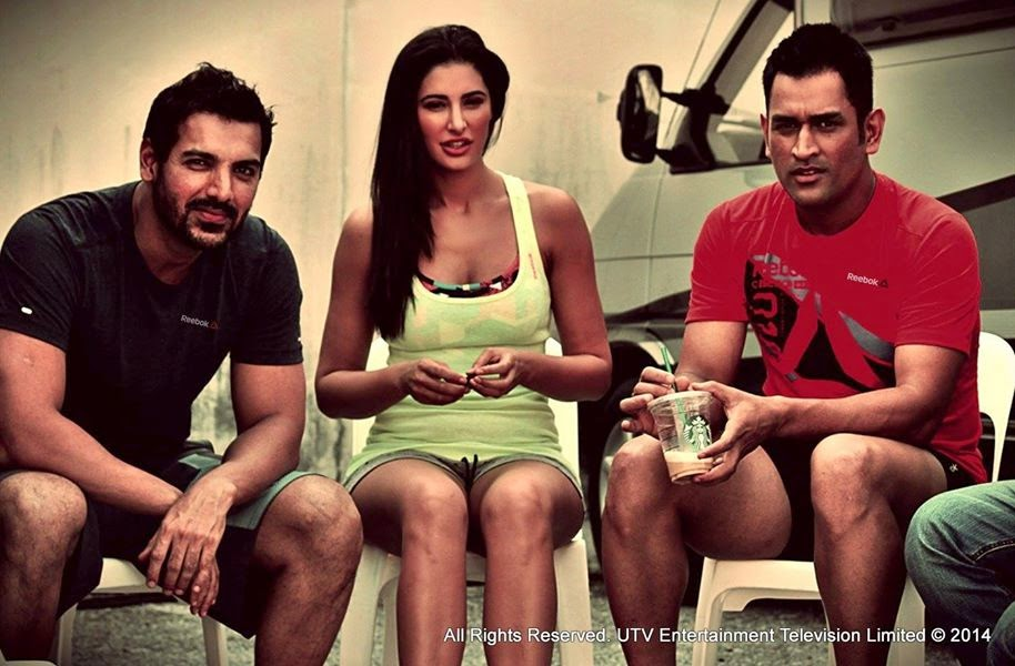 John Abraham, Nargis Fakhri & Mahendra Singh Dhoni at the Reebok-Live With Fire Campaign Shoot