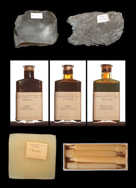 From oil-shale to candle, from the raw material, intermediate distillates to final product. Examples from the Scottish oil-shale industry.
