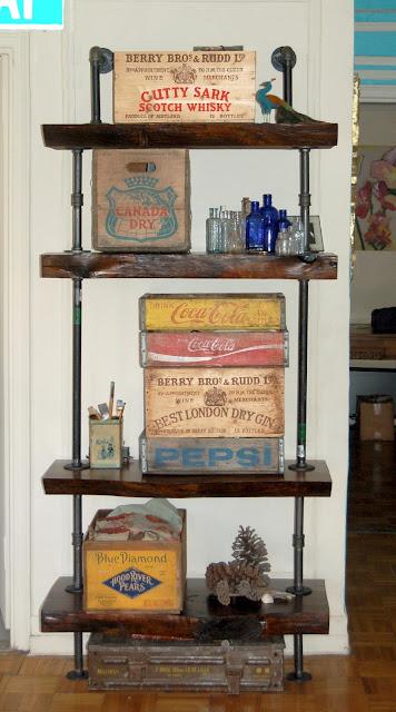 Pipe And Rustic Wood Bookshelf