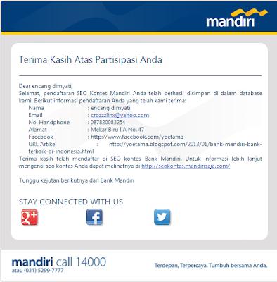 Notifikasi Pendaftaran SEO Kontes Bank Mandiri