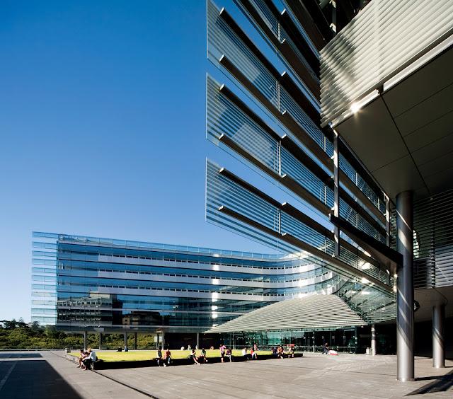Modern building in the shape of letter U