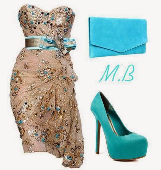 Blue handbag, adorable dress and high heel sandals