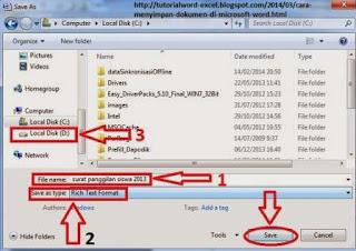 cara menyimpan file/dokumen di microsoft word