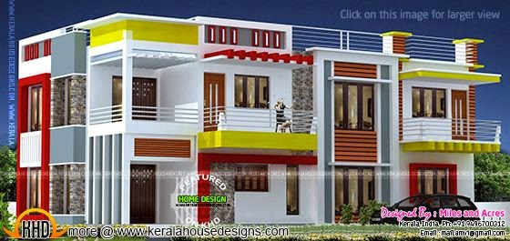 Wide flat roof house plan
