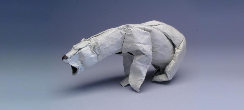 oso polar hecho de origami