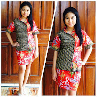 model baju batik dress wanita terbaru warna merah