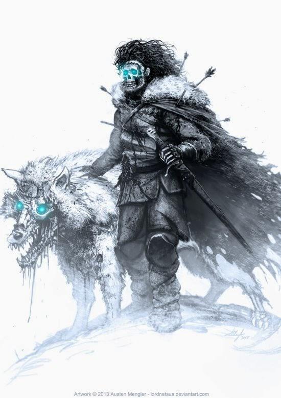Austen Mengler lordnetsua deviantart ilustrações fantasia terror game of thrones white walkers zumbis the walking dead