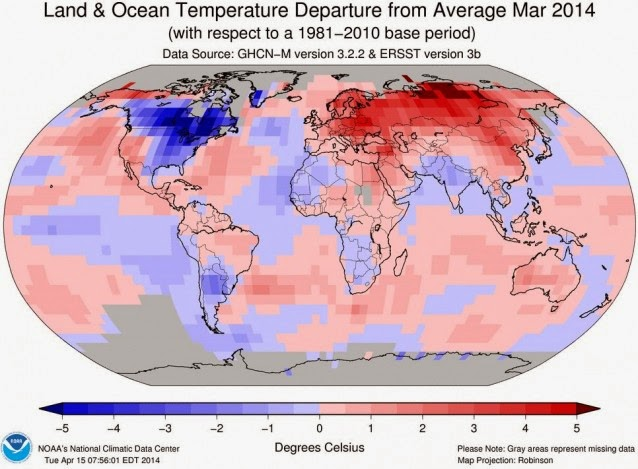 Land & Ocean Temperature Departure from Average Mar 2014 (Credit: NOAA) Click to enlarge.