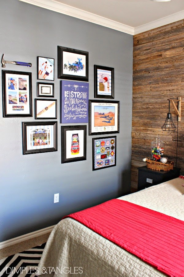 Teen boy 39 s rustic traditional modern bedroom reveal for Teen boy wall decor