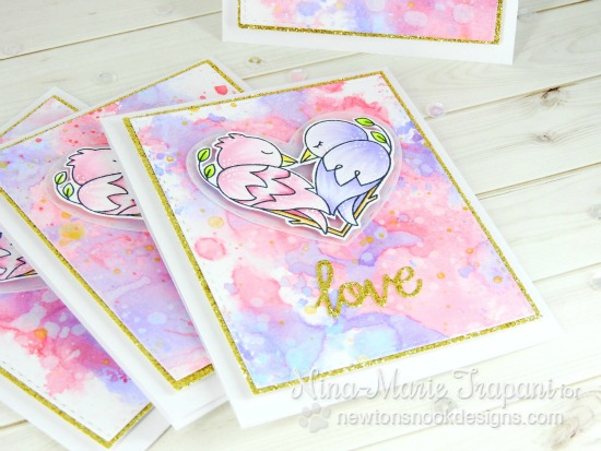 Bird Love Valentine Card by Nina-Marie Trapani | Darling Duos Stamp Set by Newton's Nook Designs #newtonsnook