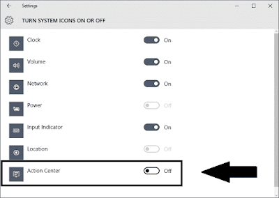 Disable Action Center & Notifications in Windows 10