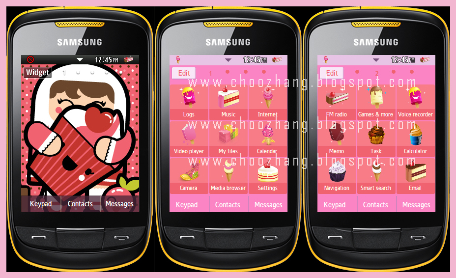 Version #3: Kawaii Foods + Pink+ Girl Theme by Corby Cat