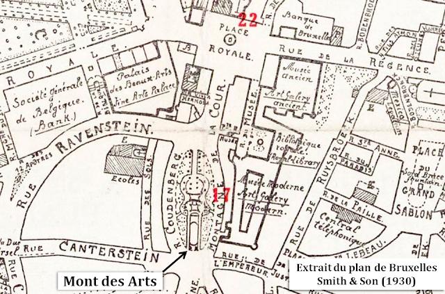 Mont des Arts - Rue Coudenberg - Rue Montagne de la Cour - Extrait du plan de Bruxelles édité par Smith & Son en 1930 - Bruxelles-Bruxellons