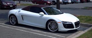 white audi r8 sports car