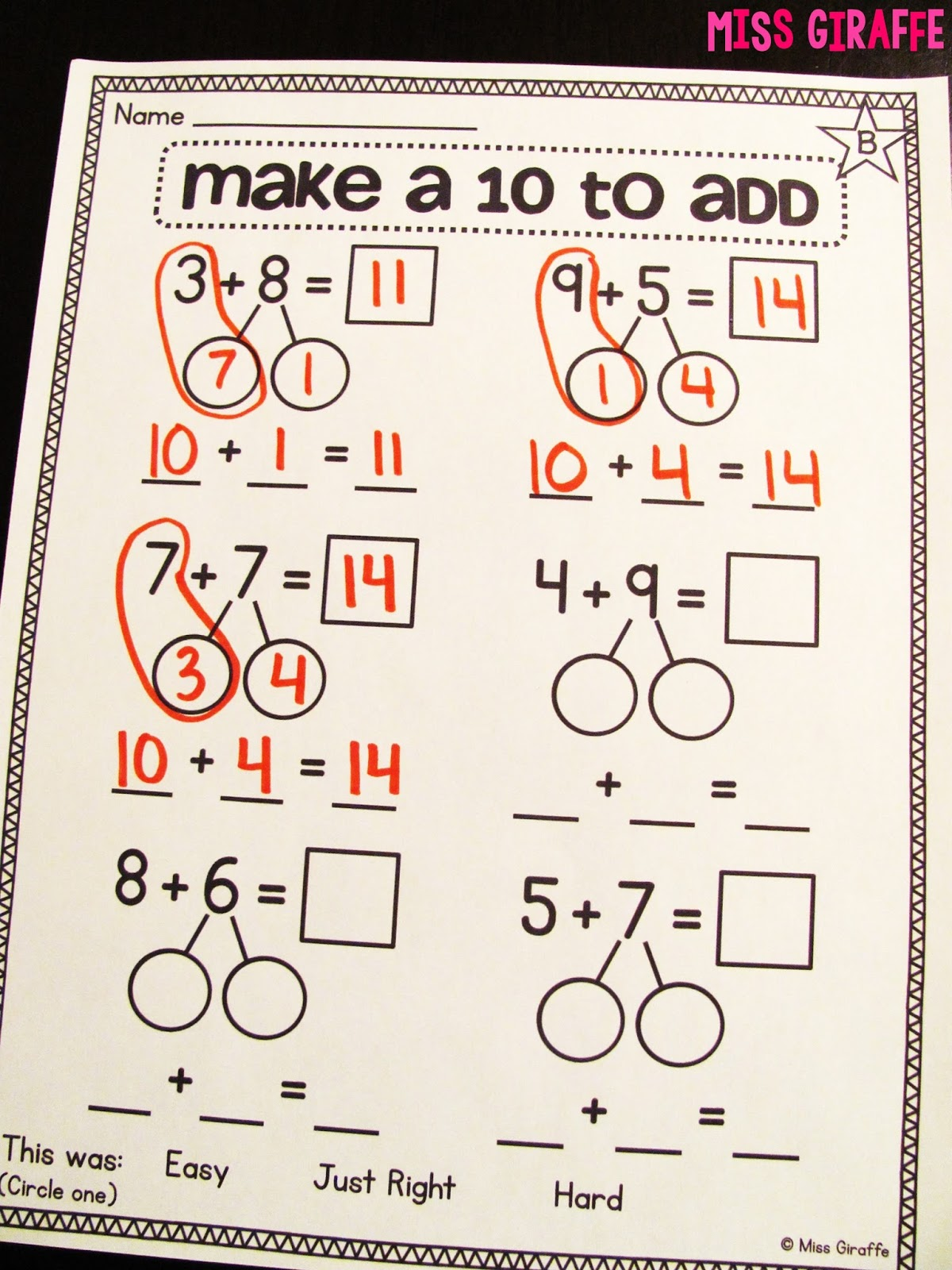 Miss Giraffes Class Making a 10 to Add – Composing and Decomposing Numbers Worksheet