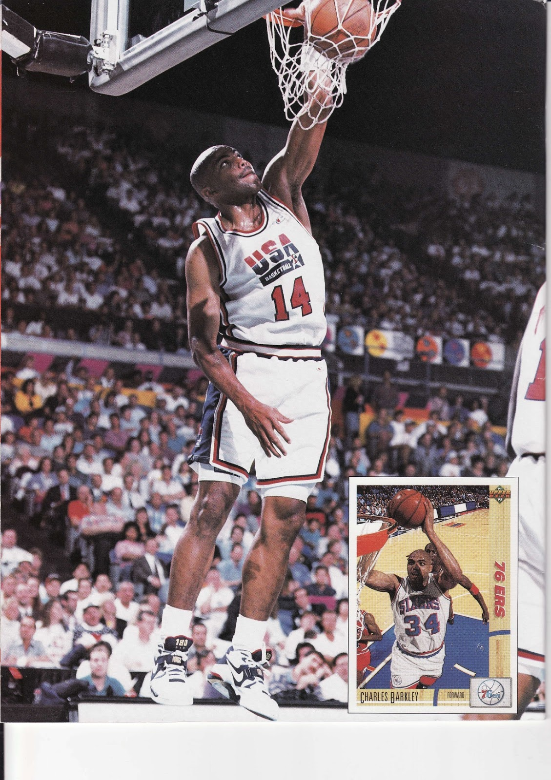 Charles Barkley playing for team USA in Beckett Basketball Monthly