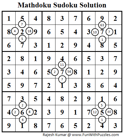 Mathdoku Sudoku (Daily Sudoku League #84) Solution