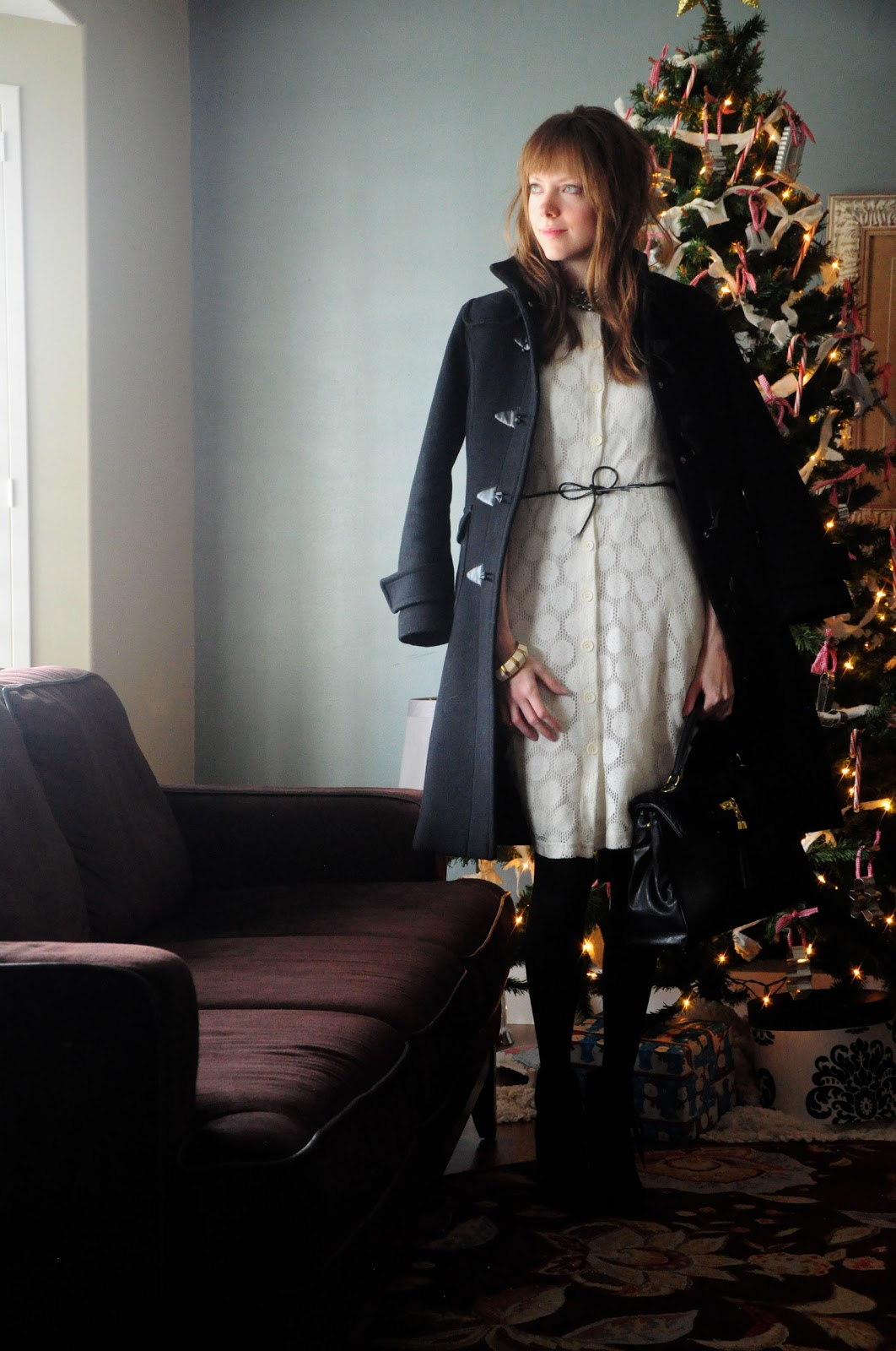 Holiday white dress, black tights, black cord bow belt