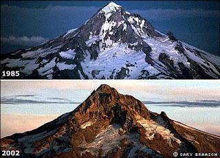 Retroceso de glaciares por el calentamiento global.