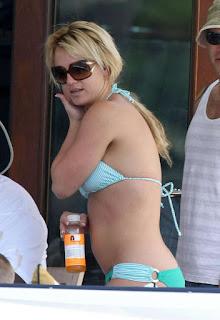 Britney Spear in a green bikini in Sydney, Australia.
