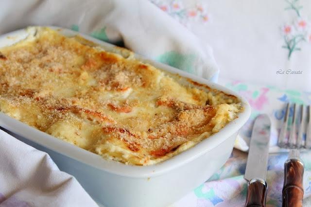 pasticcio di lasagne con robiola e salmone affumicato