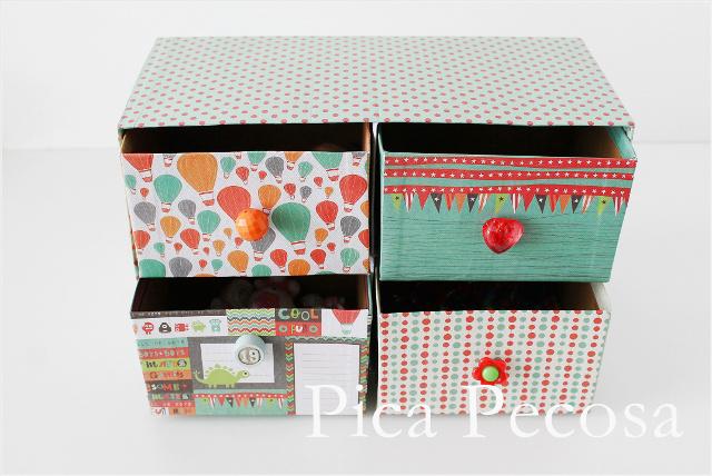 Cajonera con cajas de carton decoradas - Decorar cajas de zapatos ...