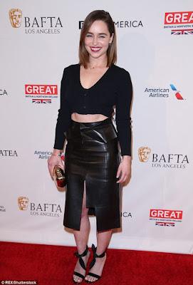 Emilia Clarke bares her abs at BAFTA tea party