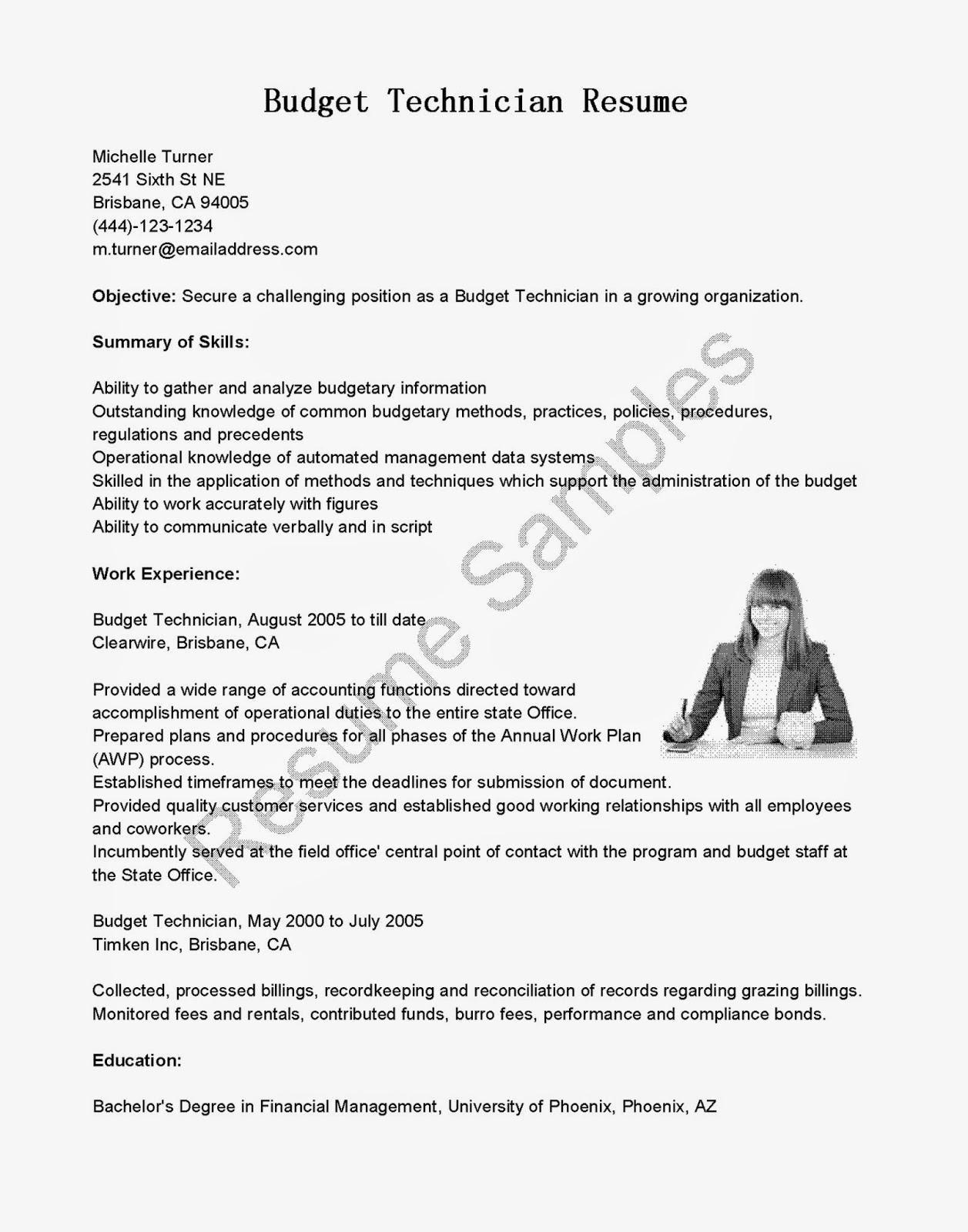 resume samples  budget technician resume sample